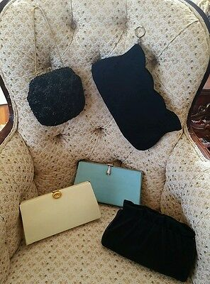 Lot of 5 Vintage 1940's 50's + EVENING HAND BAGS black yellow blue