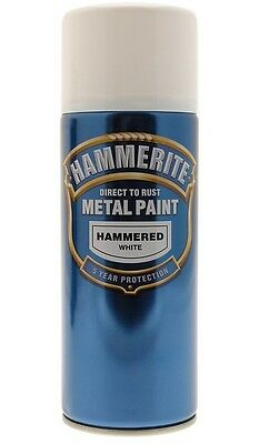 Brand New Hammerite White Hammered Metal Paint Aerosol 400ml