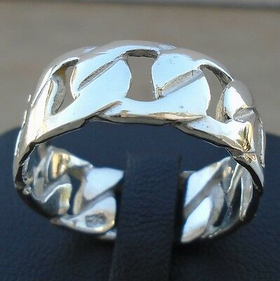 Men's Chain Style 925 Sterling Silver Ring Size 9 Band Solid Hallmark No Sto New