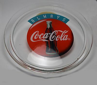 "Always Coca-Cola 13"" Round Platter Clear Glass 1995 Coke Contour Bottle Graphic"
