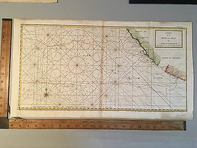 antique map 1750 Anson Map of Baja California and the Pacific / Nautical Voyages