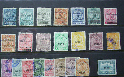 Selection Of Early Paraguay Stamps With Overprints 1908-1909