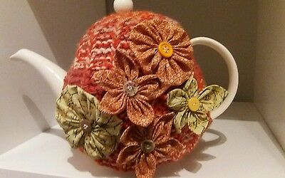 Unique Hand Crafted Tea Cosy Embellished With Hand Crafted Flowers