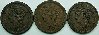 Lot of 3: Braided Hair Large Cents all XF EF details, rare old coins 1851 1853