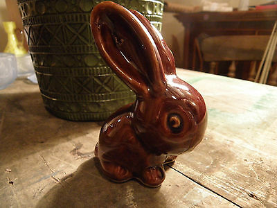 "Bourne Denby Pottery  Rabbit - Brown Glaze Gloss Treacle Marmaduke 4.5"" High"