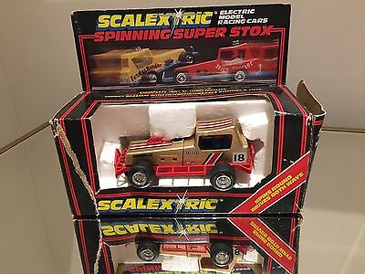 scalextric Spinning Super Stox C.313 Gold Stox Car