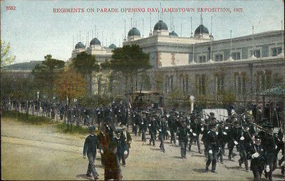 1907 Jamestown Expo Regiments on Parade Opening Day Postcard #3