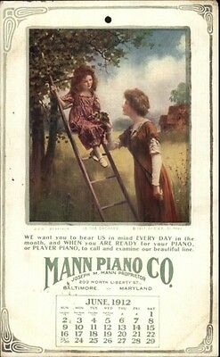Baltimore MD Mann Piano Co North Liberty St. June 1912 Calendar Postcard