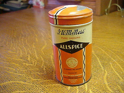 Vintage FURST McNESS ROUND FULL ALLSPICE TIN LITHO CAN FREEPORT IL