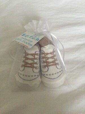 Soft Touch Infant Gift Socks Trainer Looking Brown And Cream 6-12 Months