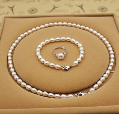 2017 New 100% Real Freshwater Pearl Jewelry 3 Pieces Set For Women