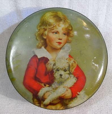 """VINTAGE 7""""x3"""" ROUND BISCUIT TIN RED WITH CHILD & DOG TO THE LID"""