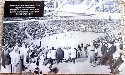 HUNTINGBURG INDIANA GYM POSTCARD - 1953 #1 HUNTINGBURG v #5 EVANSVILLE CENTRAL