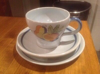 Buchan Stoneware Pottery Brittany Trio, Cup, Saucer Side Plate