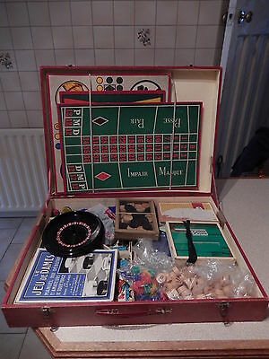 Vintage Jice Compendium Of Old Games Games In A Box With A Handle - Collectable