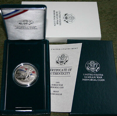 1991 US Mint Proof Korean War Korea 90% Silver Dollar Coin with Box and COA