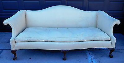 Antique Chippendale Style Camel Back Sofa /ball & Claw Feet
