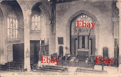 PPC Louis Levy LL41 Weymouth Holy Trinity Church Interior c 1900
