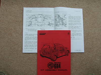 MG Metro 6R4 Factory issued detailed Kit Assembly Manual