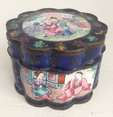 Small Antique 18th Century Hand Painted Enamel Chinese Canton Lidded Pot