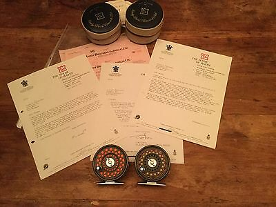 2x Custom made Hardy Flyweight fishing Reels - incl Paperwork and Invoice