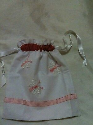 Girls butterfly draw string bag. Pink and white