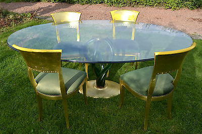 Contemporary Modern Designer Glass Dining Table and Chairs, Retro table.