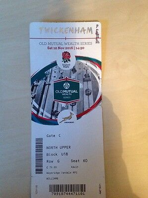 Twickenham Englad Rugby vs Springboks Ticket Stub Nov 2016