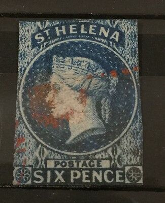 St Helena 1861 SG2/2a 6d blue used with red cancel