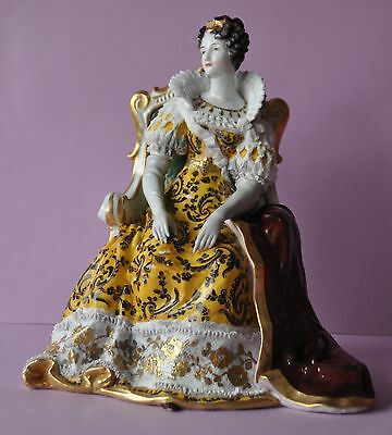 Very Rare Volkstedt Porcelain Lace Queen of Scots, Mary Stuart on Throne Dresden