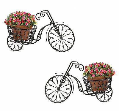 PLANT STAND: Set of 2 Iron Bicycle Planters with 10 Inch Basket NEW