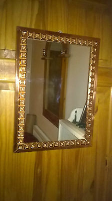 Copper Framed Wall Hanging Mirror with Square Patterned Border