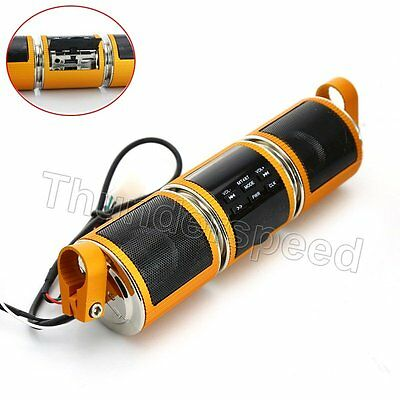 Gold Motorcycle Audio Radio Sound System Stereo Speakers MP3 USB Bluetooth 12V