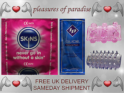 Skins Dots & Ribs Condoms (12 to 100 Packs) Free Lubricant and Sleeves