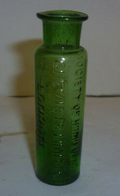 Small Green Glass Society Of Homeopathic Chemists London Bottle