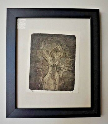 20th Century Modern Abstract Portrait Signed Edition Etching