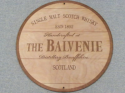 "The Balvenie Scotch Whisky 12"" Round Wood Sign barrel Top style"