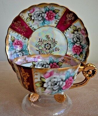 3 Footed Irridescent & Pink Flower HandleTea Cup and Saucer
