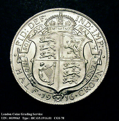 1916 UNC George V Silver Half Crown Coin CGS 78
