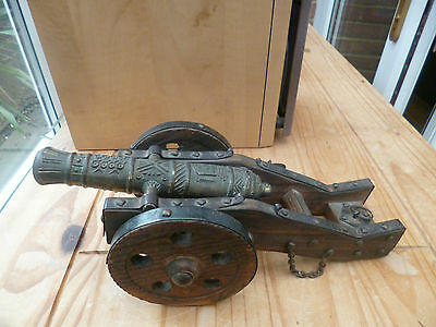 Bronze Look Cannon On Wooden Undercarriage & Wheels - Good Condition