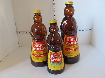 Vintage 3 Mrs Butterworth Bottles With Labels And Tin Caps Excellent