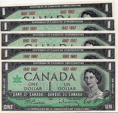 Bank Of Canada $1 -1867-1967 - 5  Unc  Notes