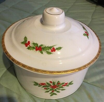 Gorham FESTIVE HOLLY Treat Jar With Cover