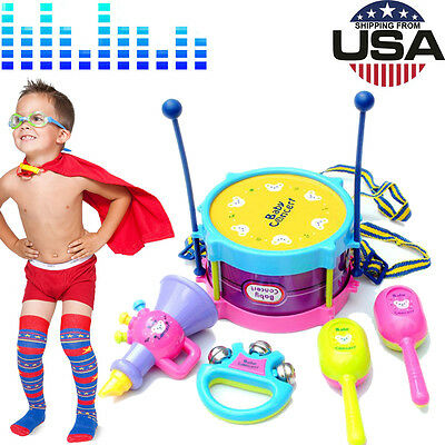 NEW 5pcs Kids Baby Roll Drum Musical Instruments Band Kit Children Toy Best gift