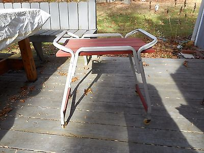 Vintage Mid Century Redwood Aluminum Patio Table Rolling Wheel Cart