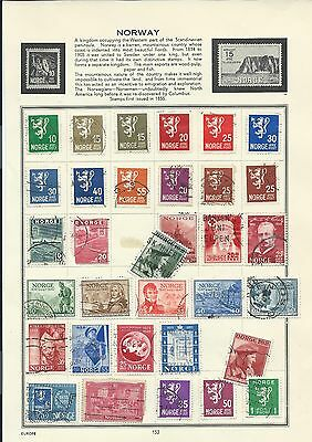 Norway stamps. 6 pages of unchecked mainly used. (Y432) Norge