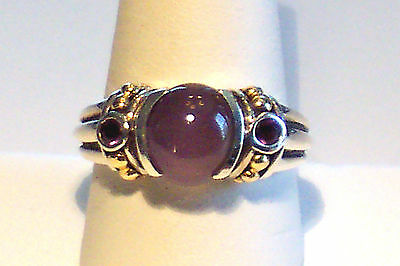Amethyst Cabachon Sterling Silver Bali Style ring Sz9