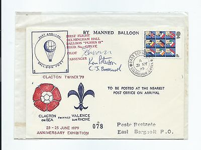 Great Britain stamps. Clacton Twinex 1979 Balloon Post cover signed. (Y497)