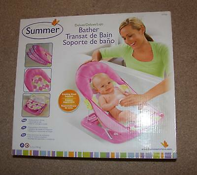 Summer Infant Deluxe Travel Baby Bather Splash Bath Support Seat Chair BLUE PINK