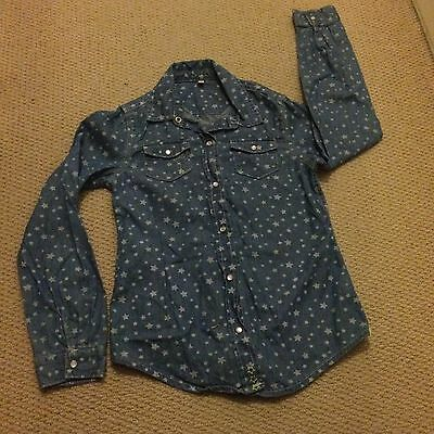 Excellent Condition Girls Age 9-10 M&S Fab Denim Shirt Stars Marks And Spencer